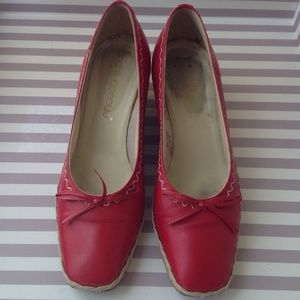Italian Leather Red Espadrille Wedges